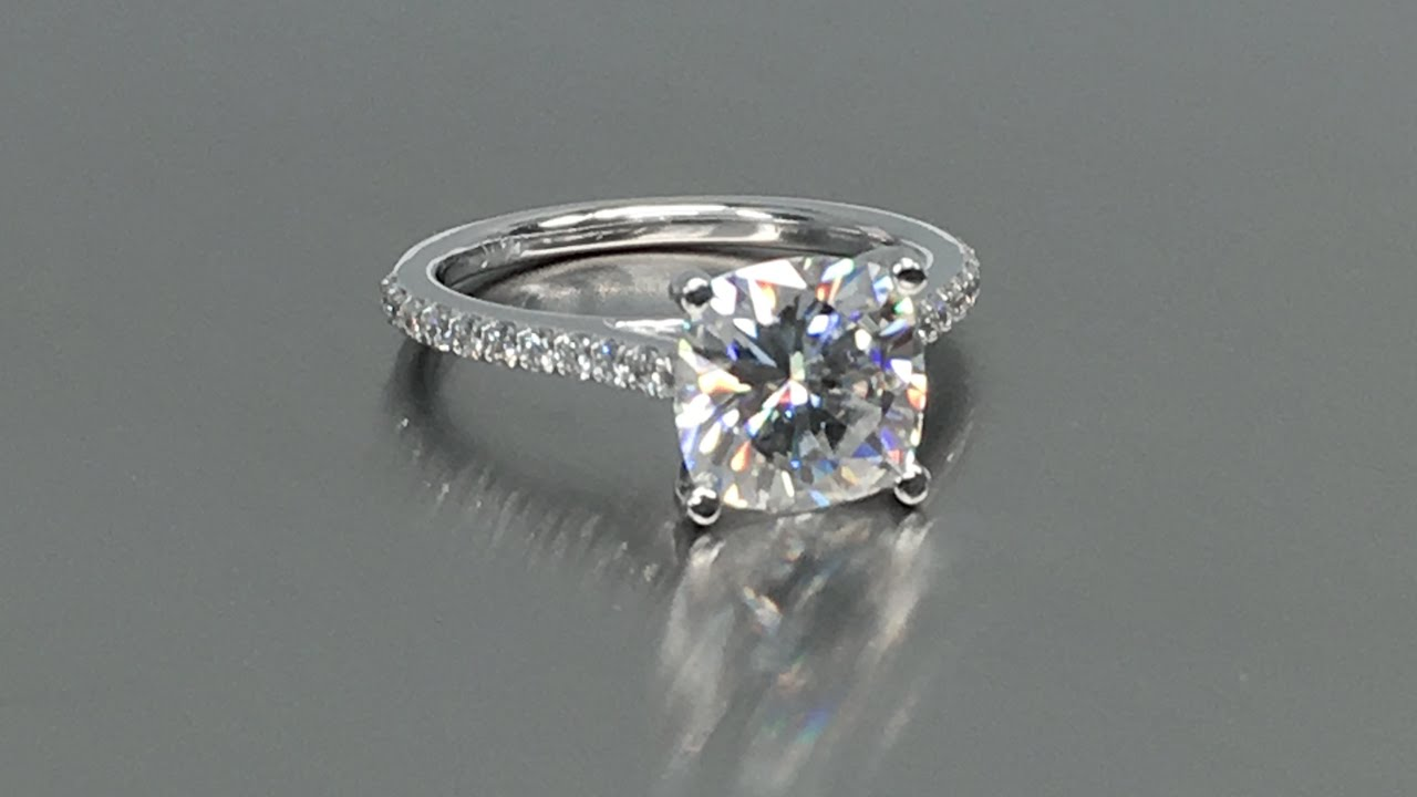 Fabulous 2 Carat Cushion Cut Forever One Moissanite Ring with Diamond  KN94