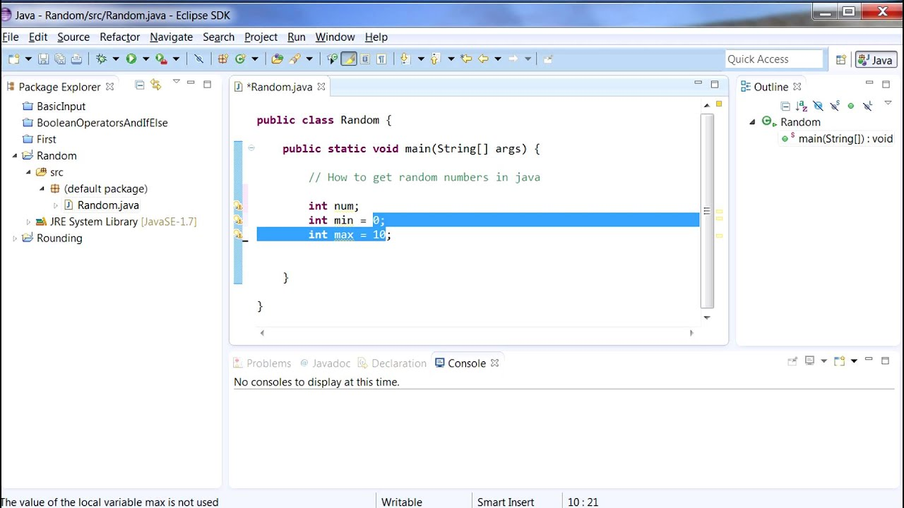How to tutorial Java: Random numbers - YouTube