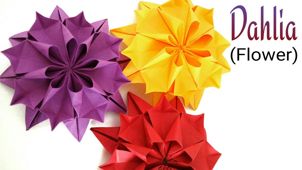Beautiful flower origami paper dahlia flower youtube mightylinksfo