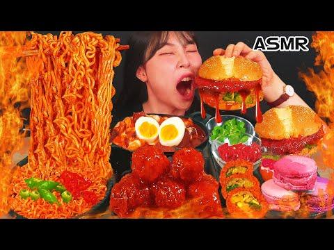 ASMR MUKBANG Makanan Toko Pedas, Ramen Pedas, Tteokbokki, Hamburger, Ayam Berpengalaman, Makan