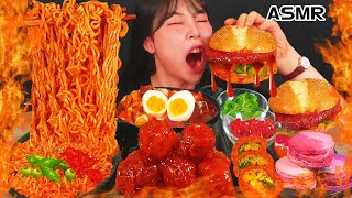 ASMR MUKBANG Spicy convenience store food, spicy ramen, hamburger, seasoned chicken, eating