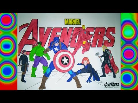 Thumbnail: Superheroes Avengers Colors Hulk, Capitain America, Iron man, Thor, Coloring pages for kids Marvel
