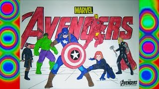 Superheroes Avengers Colors Hulk, Capitain America, Iron man,  Thor, Coloring pages for kids Marvel