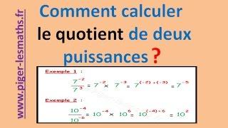 Math 4ème : Comment calculer le quotient de deux puissances