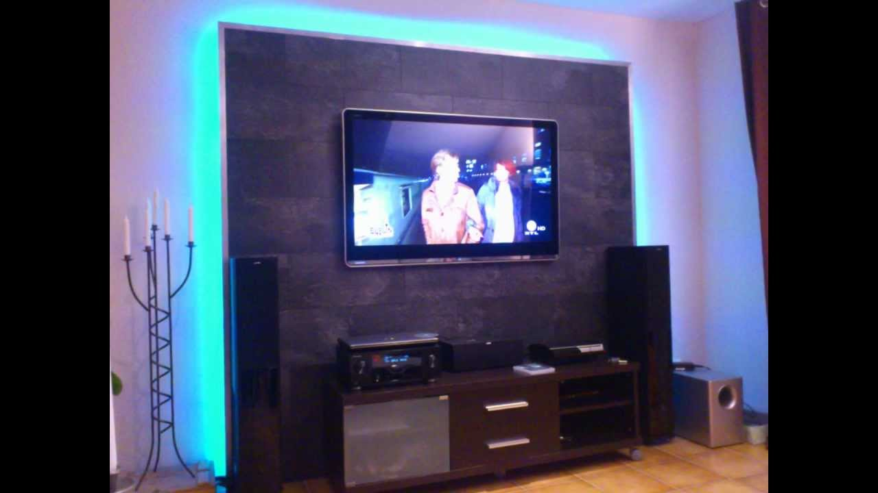 Tv An Wand Anbringen : led tv wand selber bauen cinewall do it yourself youtube ~ Markanthonyermac.com Haus und Dekorationen