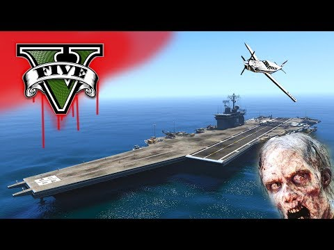 ESCAPING THE ZOMBIE INFECTION!!! US NAVY ANTI ZOMBIE CARRIER IN LOS SANTOS  GTA V MOD