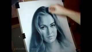 Рисование портрета карандашом и живопись сухой кистью