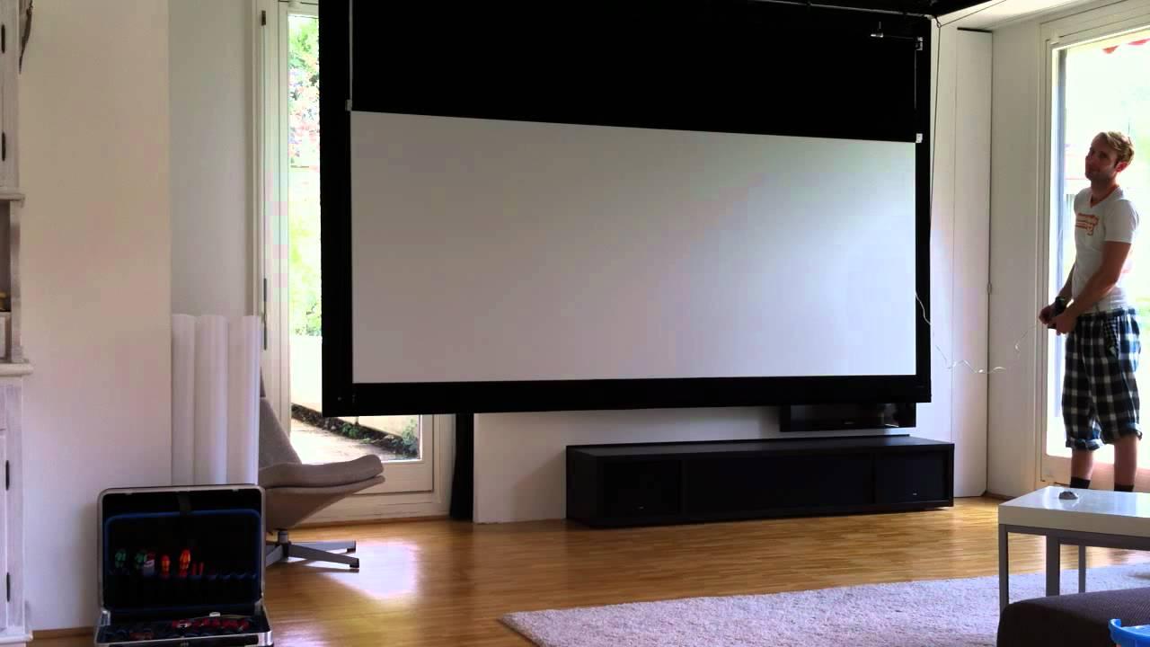 Fold out home cinema screen xxl cinemascope youtube for Leinwand fa r wohnzimmer