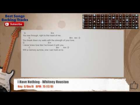 I Have Nothing - Whitney HoustonGuitar Backing Track with chords and lyrics