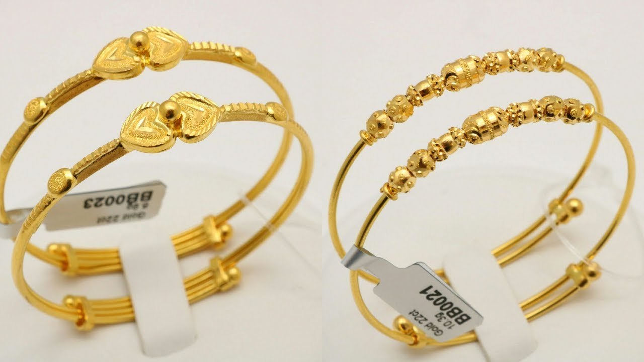 BABY GOLD BANGLES |BRACELET |DESIGNS WITH WEIGHT - YouTube