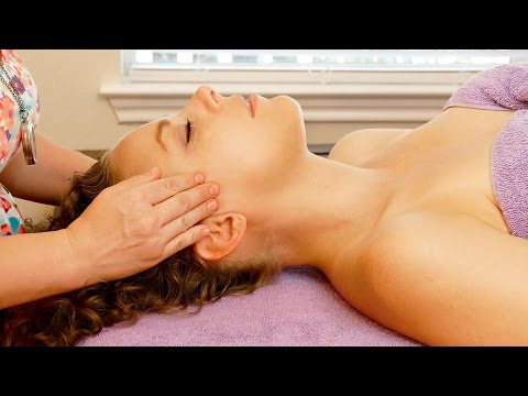Relaxing Face, Head & Scalp Massage for Headaches, How to Massage Therapy Techniques, HD 60p ASMR