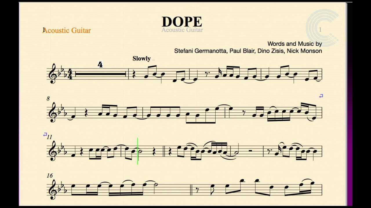 Guitar Dope Lady Gaga Sheet Music Chords And Vocals Youtube