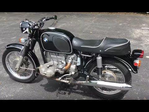 vintage motorcycle 1971 bmw r75 5 start engine sound. Black Bedroom Furniture Sets. Home Design Ideas