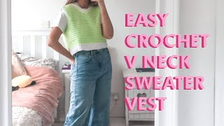 EASY Crochet V Nęck Sweater Vest Tutorial | DIY
