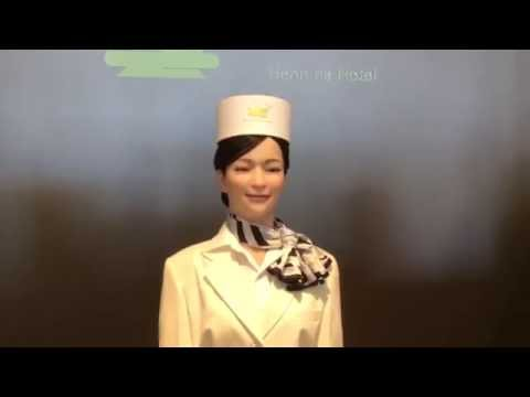 Two receptionist robots at Henn na Hotel, Huis Ten Bosch [RAW VIDEO]