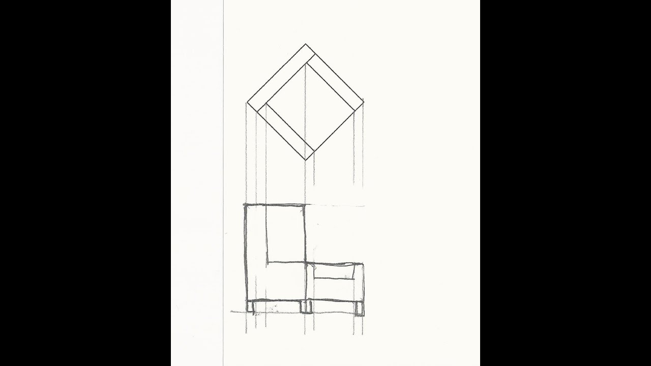 Draft An Elevation View Of A Caddy Corner Chair Youtube