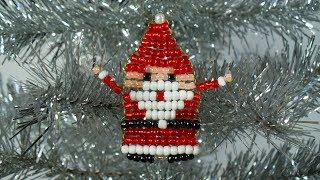 Плоский Дед Мороз из бисера
