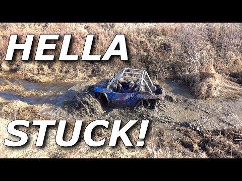 240HP RZR Turbo S on tracks mudding HARD! Get's STUCK AF!