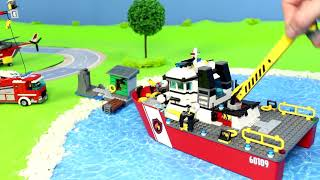 Fire Truck, Excavator, Police Cars, Train, Garbage Trucks & Ambulance Lego Construction Toy Vehicles