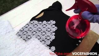Linda Camiseta em 3 minutos usando renda e alvejante