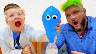 CALEB Pretend PLAY EASY DIY SCIENCE EXPERIMENTS for KIDS! EXPERiMENT with BALLOONS!