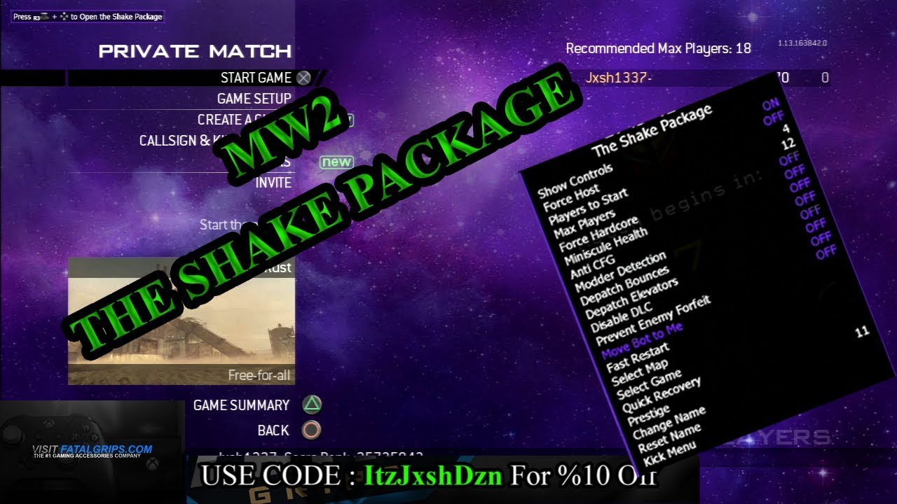 [MW2/1 14/SPRX]THE SHAKE PACKAGE NON HOST SPRX MOD MENU BY SHAWN w/DOWNLOAD!