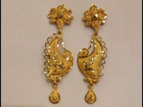 Pure Gold Light Weight Earrings Gorgeous Designs 2017
