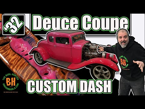 1932 Ford Deuce Coupe Dashboard! DIY Woodworking With Curly Redwood And Epoxy!