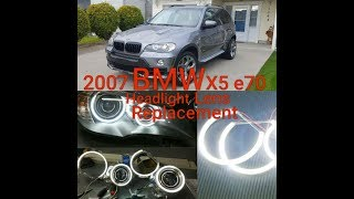 BMW X5 E70 HEADLIGHT ASSEMBLY REMOVAL LENS REPLACEMENT HALO XENON CCFL LED LIGHT