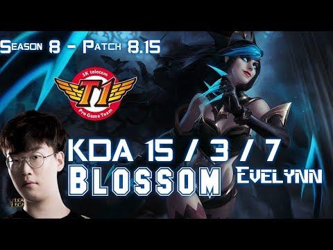SKT T1 Blossom EVELYNN vs LEE SIN Jungle - Patch 8.15 KR Ranked