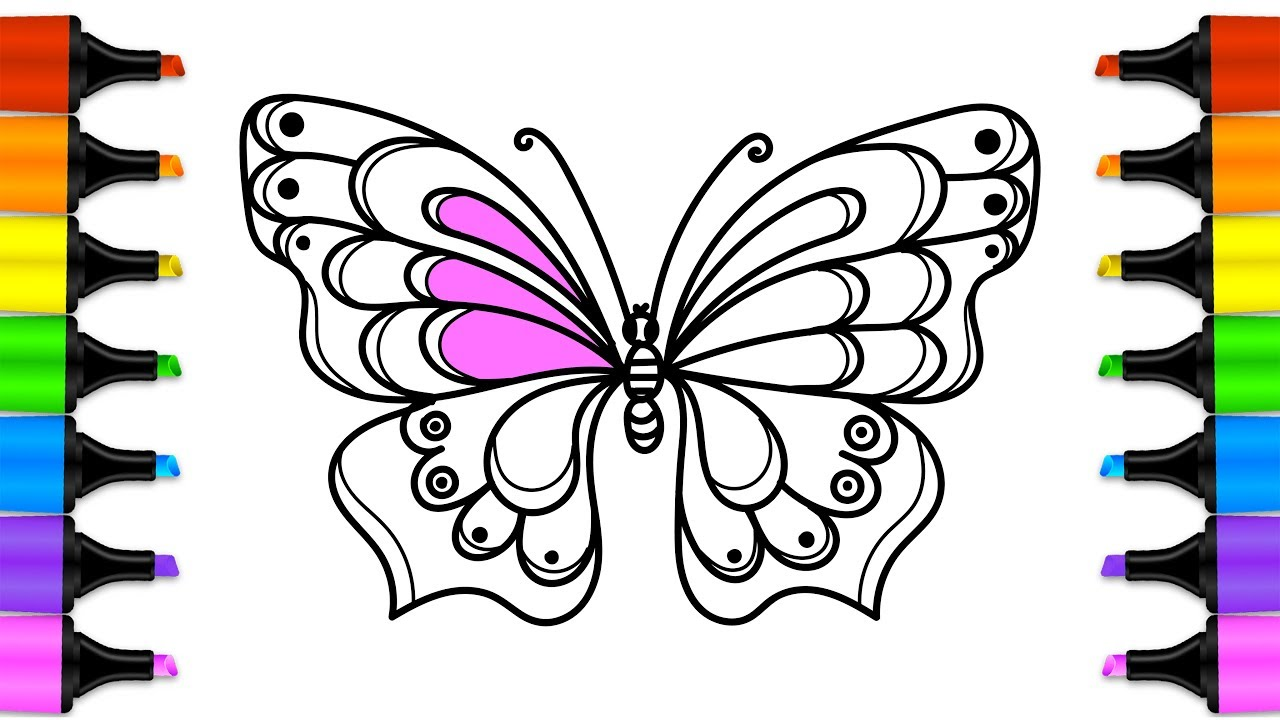 How to draw a Beautiful Butterfly with colored Markers ...