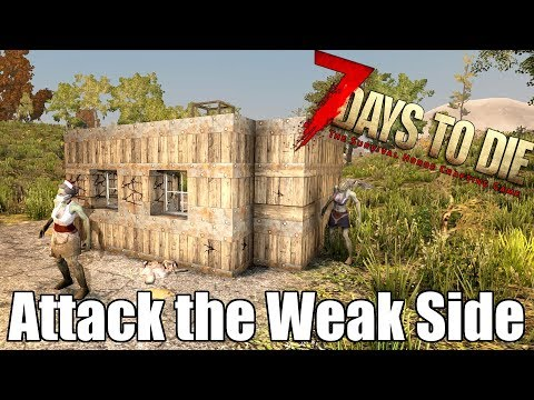 7 Days to Die - Blood Moon Horde Attacks the Weak Side of your base?