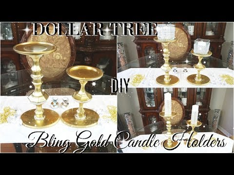 DOLLAR STORE DIY 💎 DOLLAR TREE DIY BLING CANDLESTICKS DECOR 💎 DIY GLAM ROOM DECOR 💎