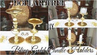 DOLLAR STORE DIY 💎 DOLLAR TREE DIY BLING CANDLESTICKS DECOR 💎 DIY GLAM ROOM DECOR 💎