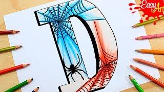 Como dibujar letras estilo Hombre araña/ /how to draw spiderman style letters