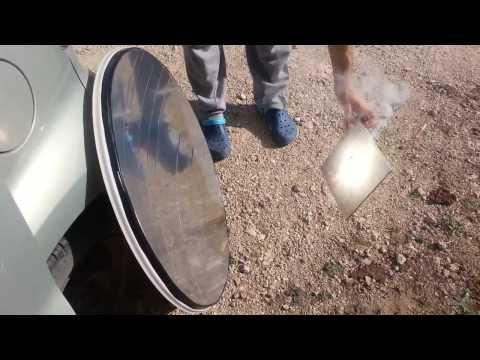 Solar energy - Concentrating sun light on a DIY mirror dish