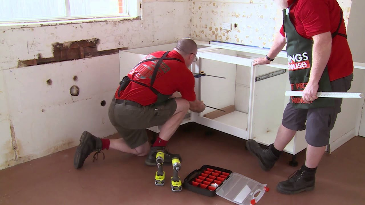 Kitchen Cupboards Bunnings How To Install U Shaped Kitchen Cabinets Diy At Bunnings