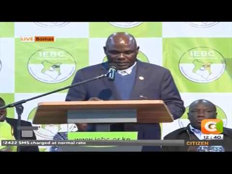IEBC Chair Chebukati updating on the progress of the tallying at Bomas Kenya