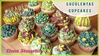 Тренд Капкейки Сукуленты украшение насадками || Suculentas cupcakes decoration || Elena Stasevich HM