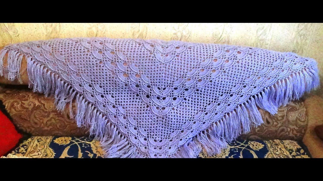 схема вязания шали крючком ананас