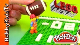 PLAY-DOH SUPER BOWL LEGO Minifig Emmet vs Secret Police, Half Time Game by HobbyKidsTV