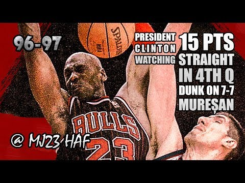 Michael Jordan Highlights vs Bullets (1997.02.21)-36pts,CLUTCH PERFORMANCE with PRESIDENT WATCHING!