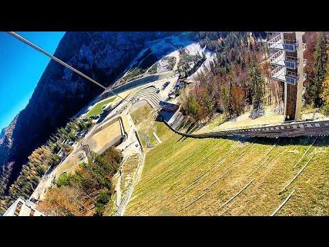 Zipline Planica jumping hill 8.11.2015 Gopro
