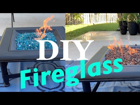 How To Put Fire Glass in a Fire Pit! DIY Highly Reflective Caribbean Blue Glass!