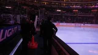 Kings vs. Blues in the Ice Box at Staples Center - Warm-ups from the Ice Box on 12/2/2013
