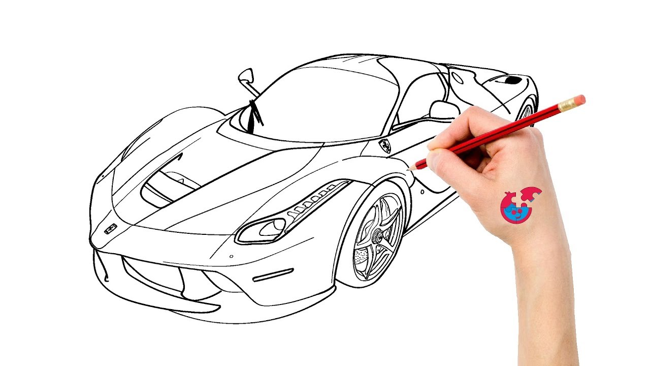 How To Draw Cars Ferrari Laferrari Learning Drawing Puzzle Kid Youtube