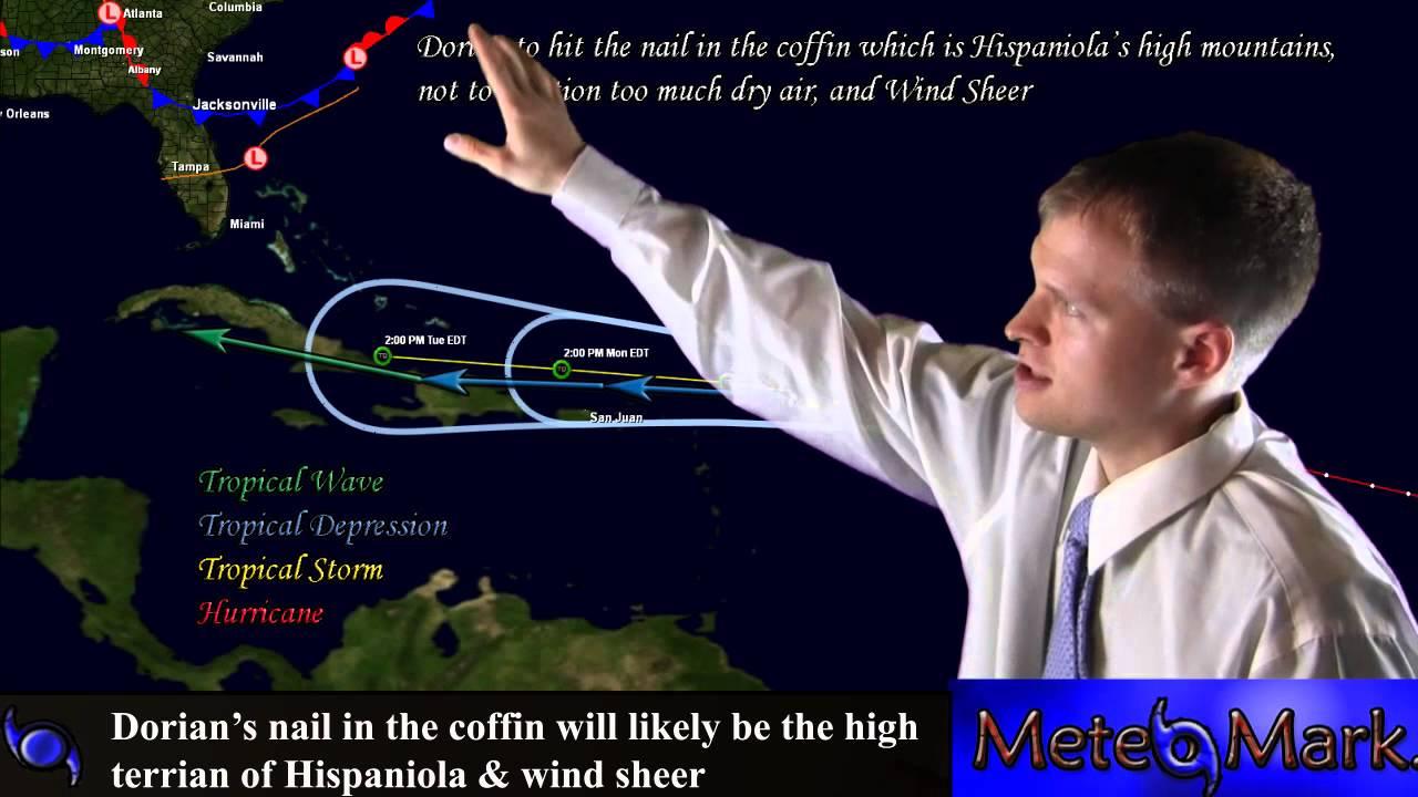 Tropical Storm Dorian gathering strength over the Atlantic