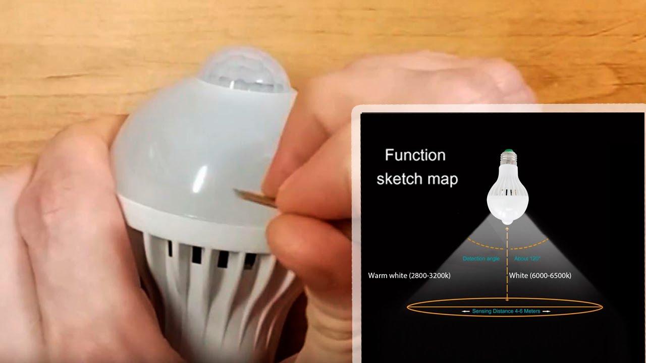 E27 LED Light Bulb with IR motion sensor | Unboxing & disassembly lamp with  IR motion sensor