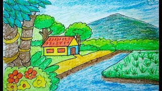 How to draw scenery, drawing & Coloring | Drawing for Kids, children's & beginners