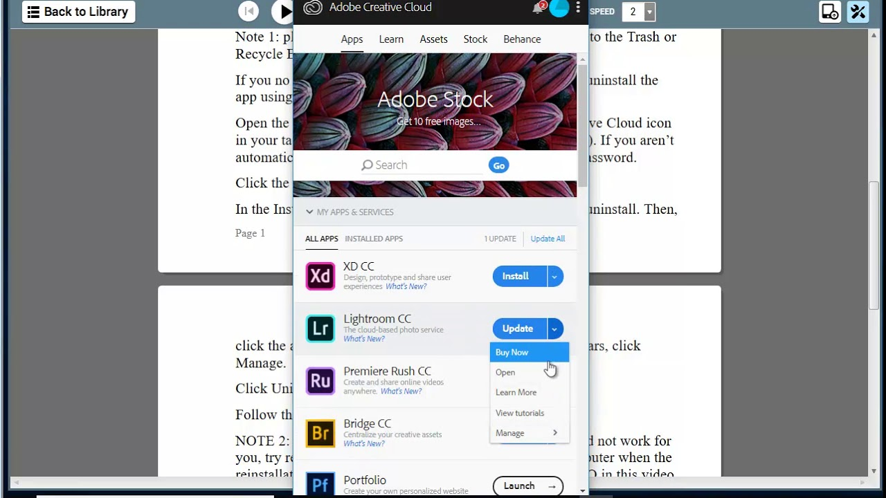 Uninstall/remove Creative Cloud apps in Windows 10/macOS